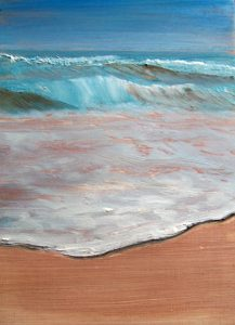 Sea shore   8x6inches 205x150mm. All the paintings in this series are £150 and framed with a light grey surround. They are in the main studies for larger projects, but I liked the way they caught 'the moment' in the smaller format