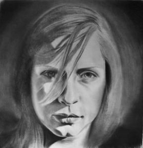 Uldra, warrior queen | 36 x 36 inch charcoal on paper £950
